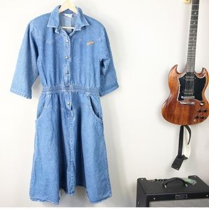 VTG 80s Blue Cotton Denim Western Prairie Dress